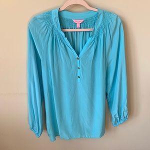 Lily Pulitzer 100% silk aqua henley blouse 559